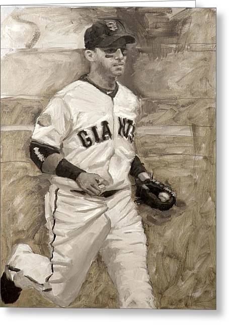 Sf Giants Greeting Cards - Marco Scutaro Greeting Card by Darren Kerr