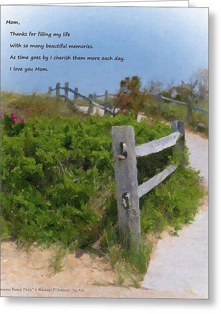 Marconi Beach Greeting Cards - Marconi Beach Path Quote Greeting Card by Michael DArienzo
