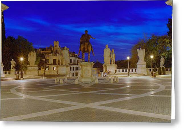 Town Square Greeting Cards - Marcus Aurelius Statue At A Town Greeting Card by Panoramic Images
