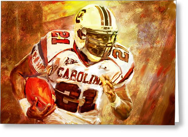 49ers Mixed Media Greeting Cards - Marcus Lattimore Greeting Card by Dwayne  Graham