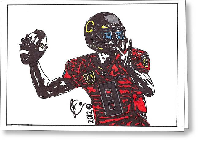 Universities Drawings Greeting Cards - Marcus Mariota Greeting Card by Jeremiah Colley
