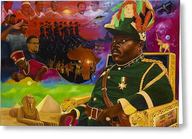 Pyramids Greeting Cards - Marcus Mosiah Garvey Greeting Card by Kolongi Brathwaite