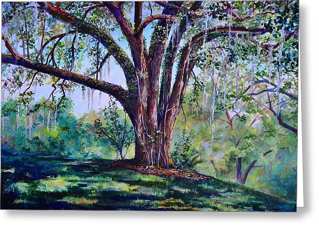 Al Fresco Greeting Cards - Marcus Oak Greeting Card by AnnaJo Vahle