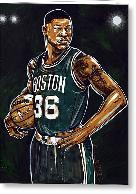 Celtics Basketball Greeting Cards - Marcus Smart Greeting Card by Dave Olsen