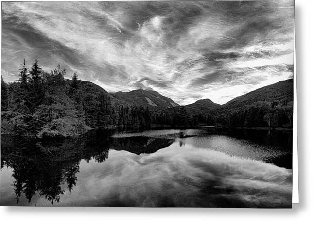 Joshua House Greeting Cards - Marcy Dam Pond Black and White Greeting Card by Joshua House