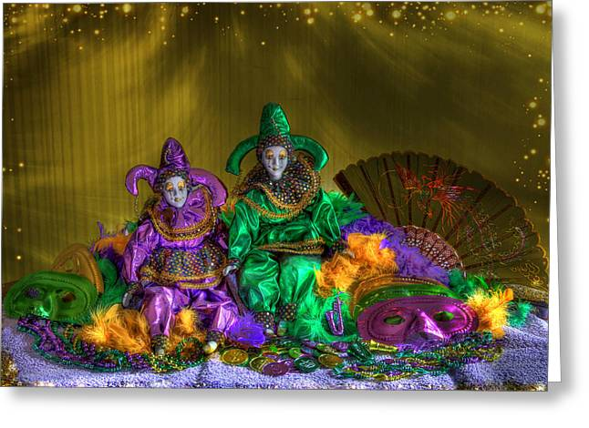 Jester Greeting Cards - Mardi Gras 2014 Greeting Card by Donna Kennedy
