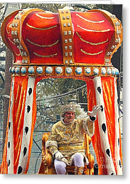 St Charles Avenue Greeting Cards - Mardi Gras 2014 His Majesty The King Of Mardi Gras Greeting Card by Michael Hoard