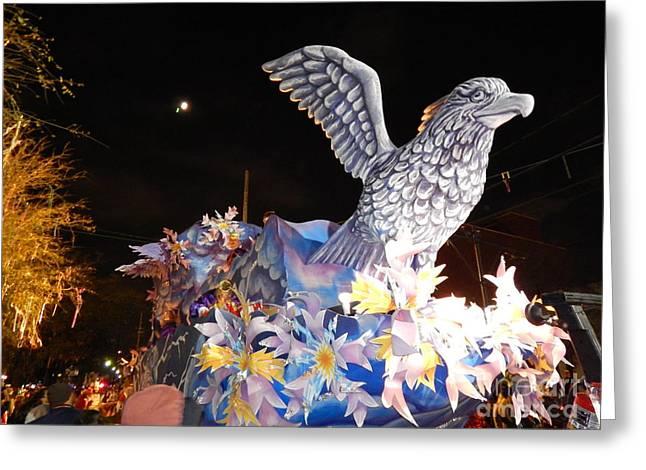 St Charles Avenue Greeting Cards - Mardi Gras 2014 Mardi Gras Takes Flight Greeting Card by Michael Hoard
