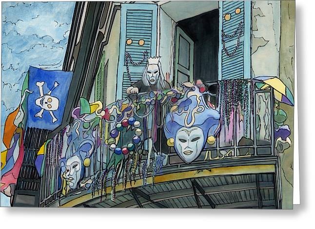 Streetlamp Drawings Greeting Cards - Mardi Gras Balcony 210 Greeting Card by John Boles