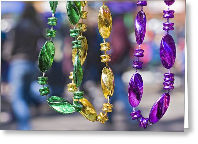 Mardi Gras Beads Greeting Card by Ray Devlin