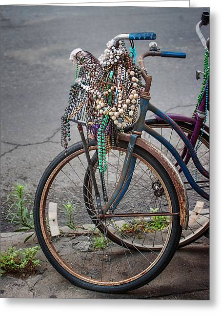 Bryant Photographs Greeting Cards - Mardi Gras Bicycle Greeting Card by Brenda Bryant