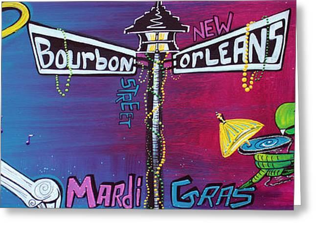 Mardi Gras Paintings Greeting Cards - Mardi Gras Celebration Greeting Card by Laura Barbosa