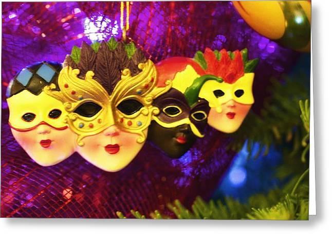 Christmas Card Art Greeting Cards - Mardi Gras Christmas Greeting Card by Jade Moon