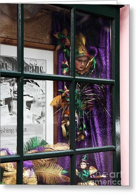Mardi Gras Colors Greeting Card by John Rizzuto