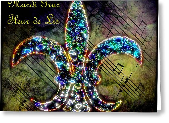 Bchichester Greeting Cards - Mardi Gras Fleur de Lis Greeting Card by Barbara Chichester