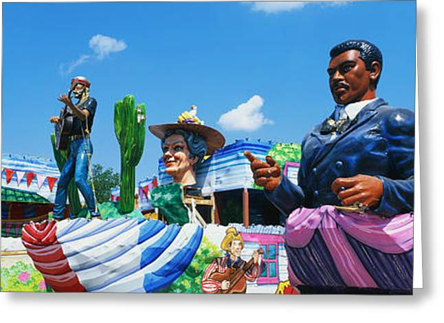 Human Being Photographs Greeting Cards - Mardi Gras Floats Greeting Card by Panoramic Images