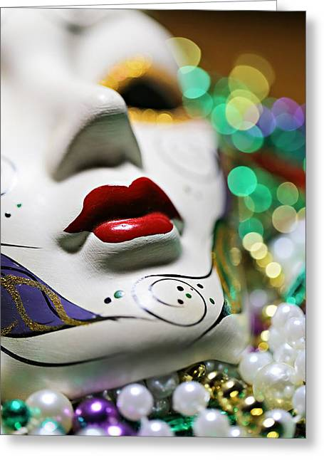 Gold Necklace Greeting Cards - Mardi Gras II Greeting Card by Trish Mistric