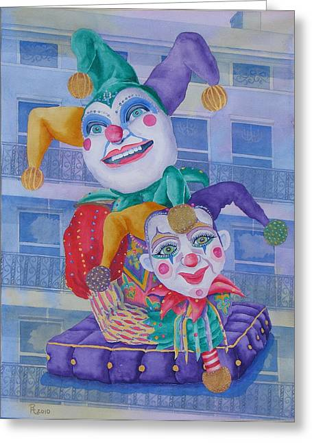 Jesters Puppet Greeting Cards - Mardi Gras Jesters Greeting Card by Rhonda Leonard
