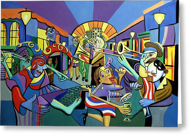 Mardi Gras lets get the party started Greeting Card by Anthony Falbo