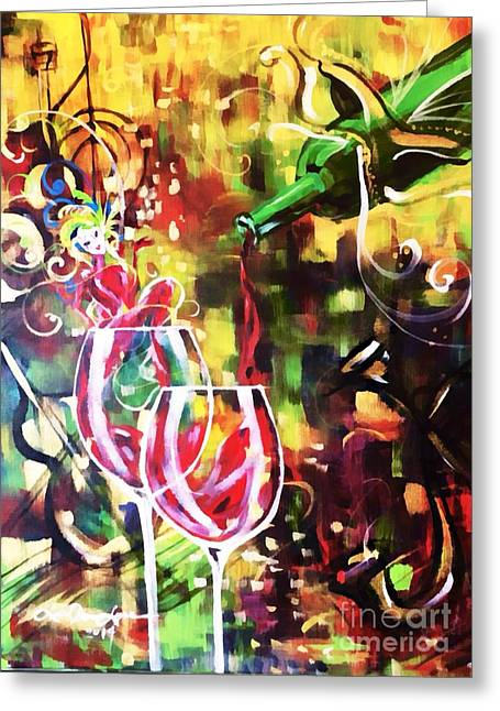 Wine Pouring Greeting Cards - Mardi Gras Greeting Card by Lisa Owen-Lynch