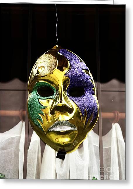 Celebration Art Print Greeting Cards - Mardi Gras Mask Greeting Card by John Rizzuto