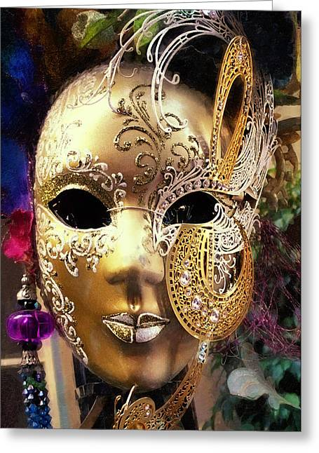 Embossed. Greeting Cards - Mardi Gras Mask Greeting Card by Ron Regalado