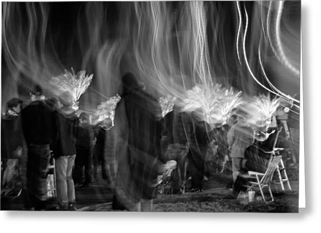 Metairie Greeting Cards - Mardi Gras Night Parade monochrome Greeting Card by Steve Harrington