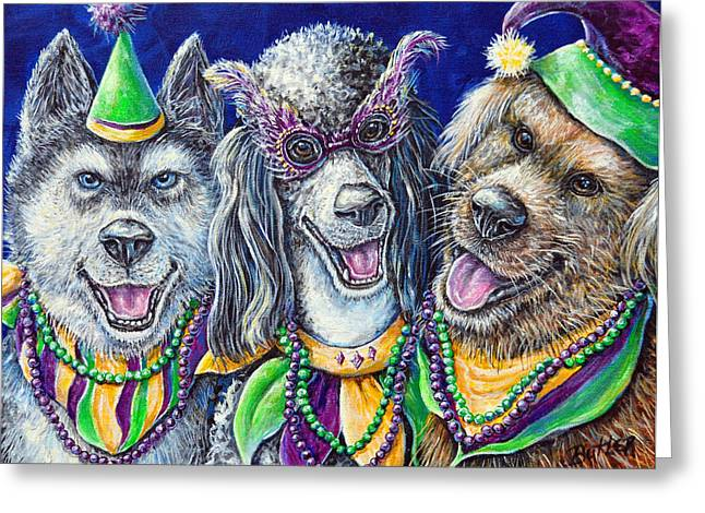 Husky Greeting Cards - Mardi Gras Party Pups Greeting Card by Gail Butler