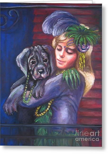 Puppies Pastels Greeting Cards - Mardi Gras Puppy Greeting Card by Beverly Boulet