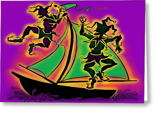 Humor Greeting Cards - Mardi Gras Ship of Fools Greeting Card by Kevin Middleton