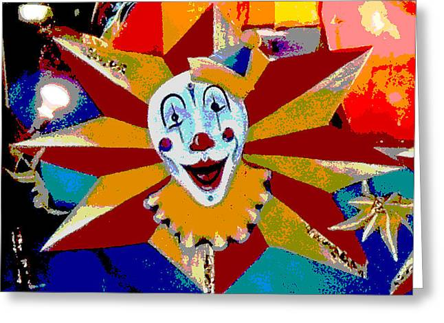 Circus Graphics Greeting Cards - Mardi Gras Star Clown Posterized Greeting Card by Marian Bell