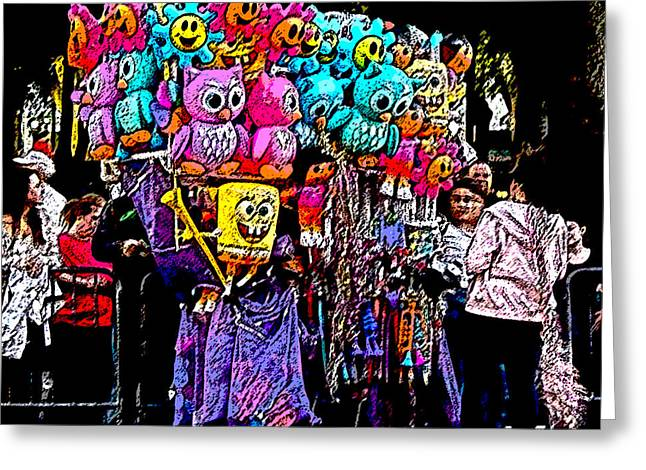 Mardi Gras Vendor's Cart Greeting Card by Marian Bell