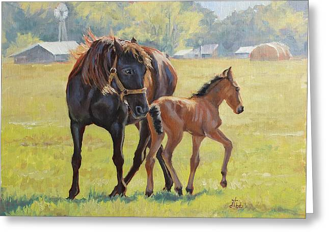 Impressionist Greeting Cards - Mare and Colt Greeting Card by Diane Bay