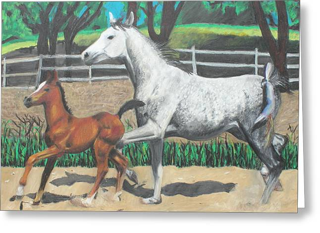 Ranch Pastels Greeting Cards - Mare and Colt Greeting Card by Jeanne Fischer