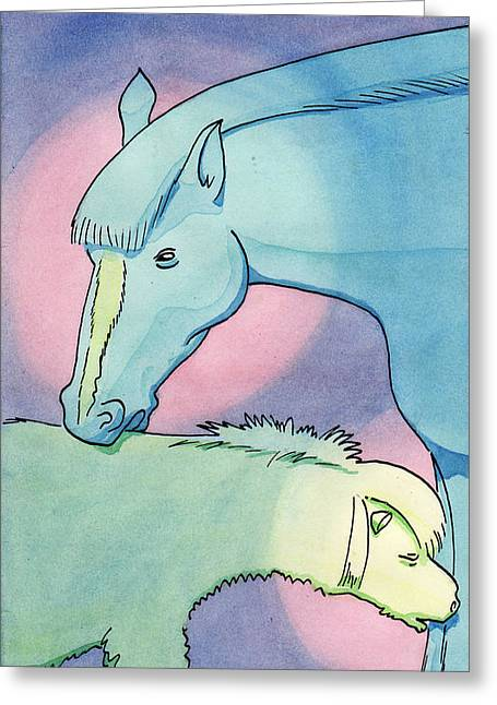 Caring Mother Mixed Media Greeting Cards - Mare And Filly Greeting Card by Mario enrico Velez
