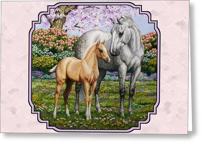 Grey Horse Greeting Cards - Mare and Foal Pillow Pink Greeting Card by Crista Forest