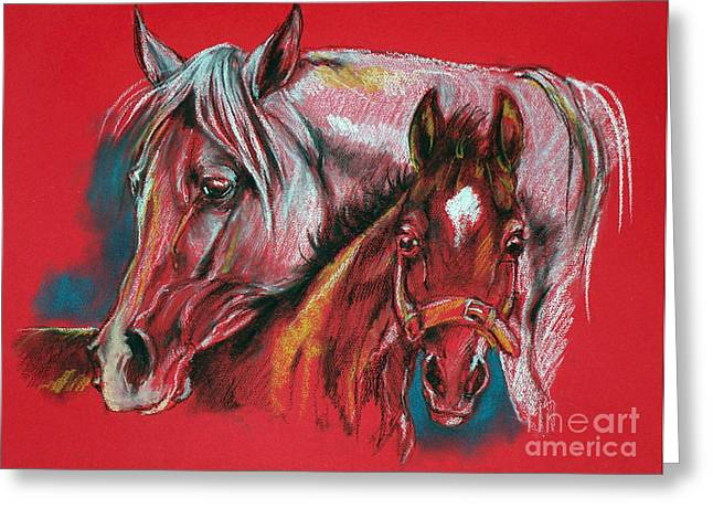 Mothers Pastels Greeting Cards - Mare With A Foal Greeting Card by Angel  Tarantella