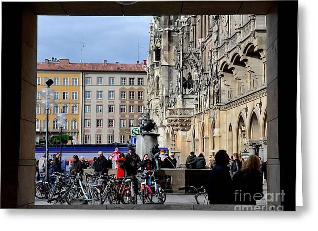Mareinplatz And Glockenspiel Munich Germany Greeting Card by Imran Ahmed