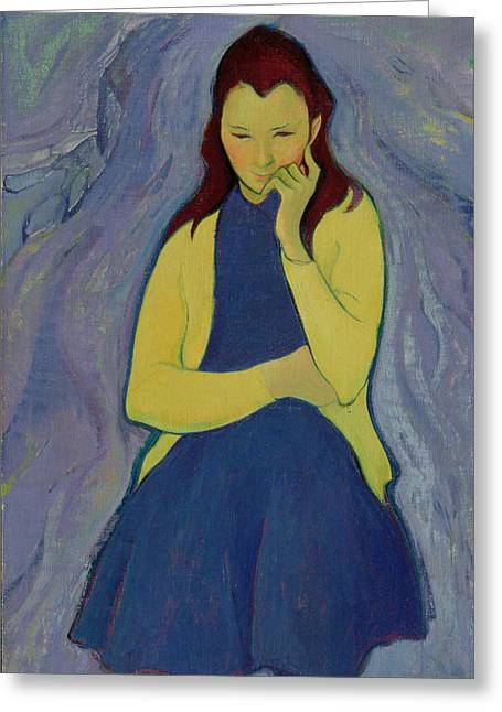 Pensive Greeting Cards - Margaret, Irish Girl, 1967 Oil On Canvas Greeting Card by Antonio Ciccone