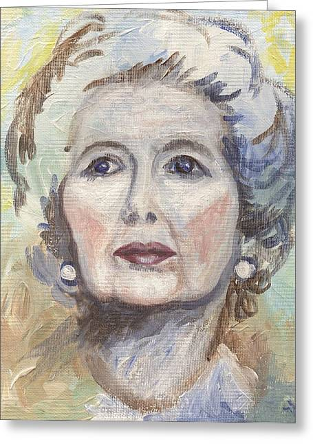 British Prime Minister Greeting Cards - Margaret Thatcher One Greeting Card by Linda Mears