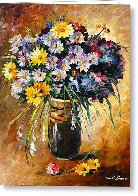 Poland Art Greeting Cards - Margaritas - PALETTE KNIFE Oil Painting On Canvas Greeting Card by Leonid Afremov