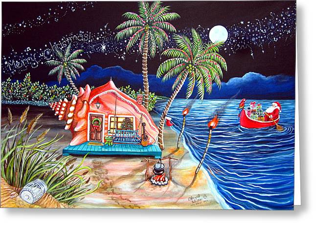 Margaritaville Conch Christmas Greeting Card by Abigail White