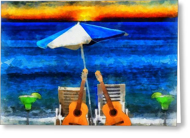 Beach Photography Mixed Media Greeting Cards - Margaritaville Greeting Card by Dan Sproul