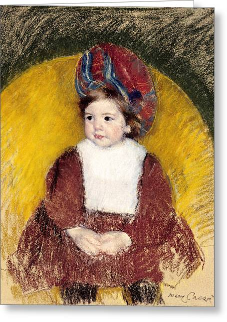 African-american Paintings Greeting Cards - Margot In A Dark Red Costume Greeting Card by Mary Cassatt