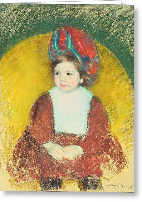 Kid Pastels Greeting Cards - Margot Greeting Card by Mary Stevenson Cassatt