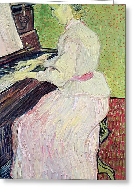 Red Dress Paintings Greeting Cards - Marguerite Gachet at the Piano Greeting Card by Vincent Van Gogh