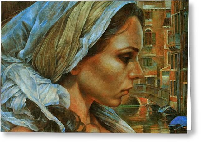 Girl In Turban Greeting Cards - Maria Greeting Card by Arthur Braginsky