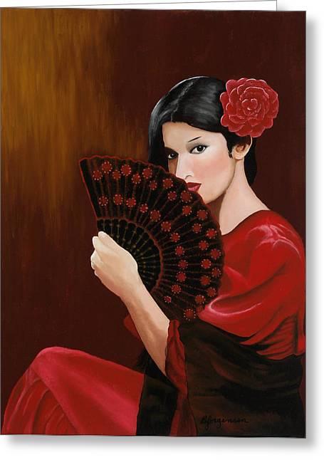 Senorita Greeting Cards - Maria Greeting Card by Barbara Jorgensen