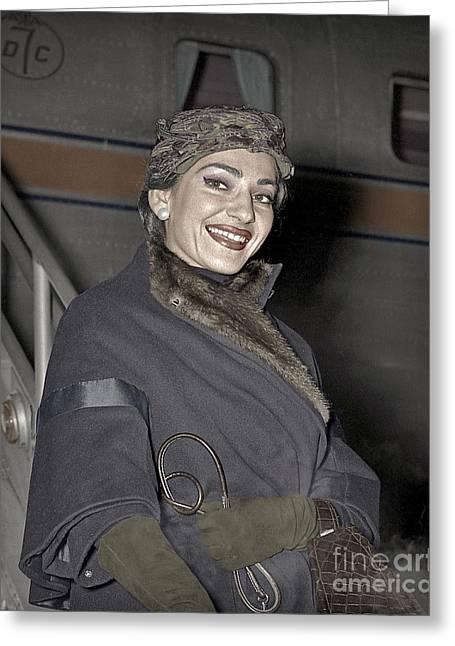Dc7 Greeting Cards - Maria Callas Opera Diva Greeting Card by Martin Konopacki
