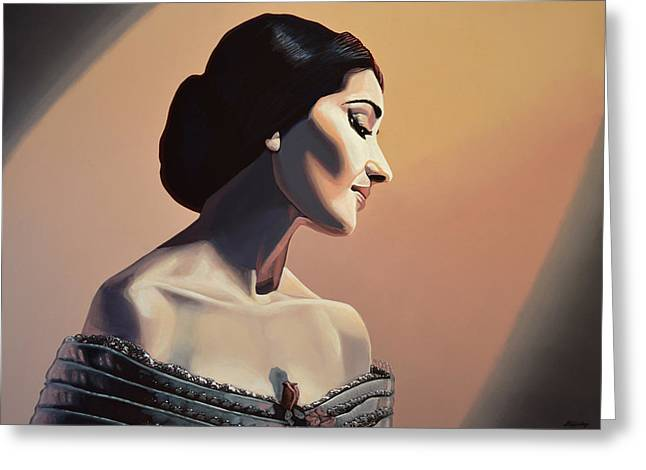 Maria Callas Painting Greeting Card by Paul Meijering